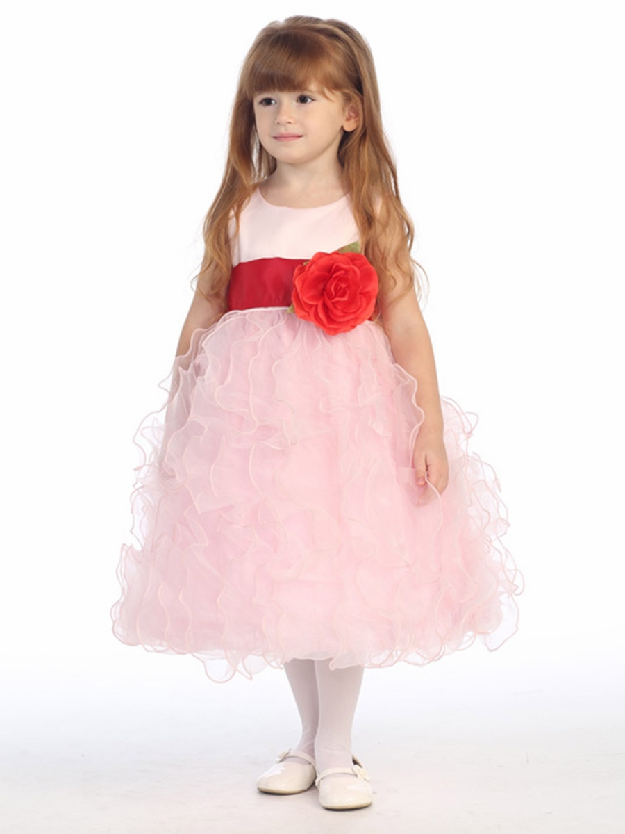 Ruffled Organza Skirt With Embroidered And Beaded Bodice: Blossom Pink Satin Bodice W/ Ruffled Organza Skirt