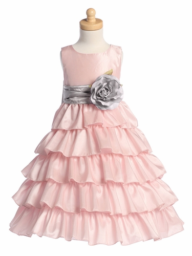 Blossom Pink Sleeveless Taffeta Bodice Layered Skirt w/ Detachable Sash & Flower