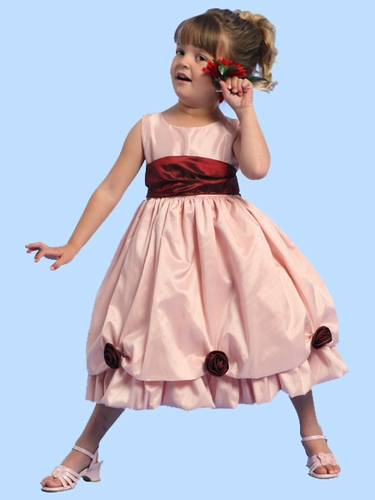 Blossom Pink Sleeveless Taffeta Dress w/ Detachable Flowers and Sash