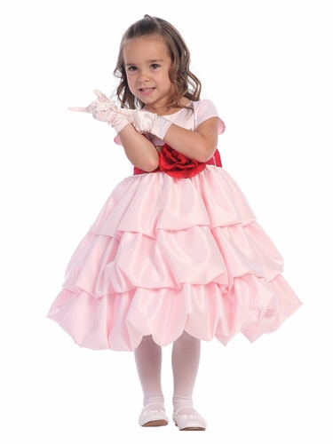 Blossom Pink Three Layer Satin Bubble Dress w/ Detachable Sash & Flower