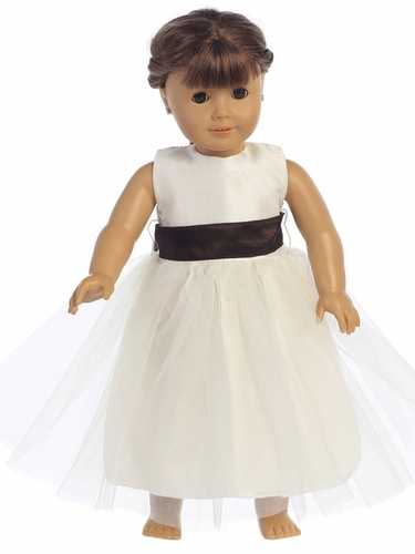 "Blossom Poly Silk Bodice & Tulle Skirt Dress w/ Detachable Sash for 18"" Doll"