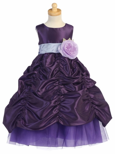 Blossom Purple Taffeta Dress w/ Shirred Skirt and Detachable Sash & Flower