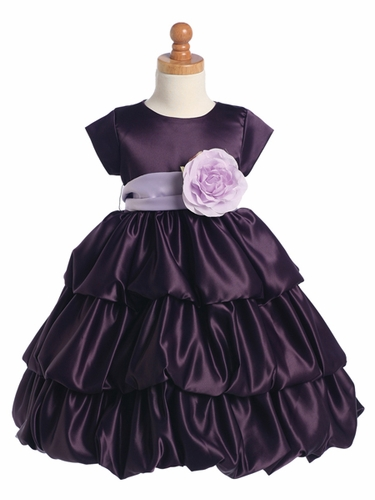 Blossom Purple Three Layer Satin Bubble Dress w/ Detachable Sash & Flower