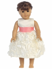 "Blossom Satin Bodice & Floral Ribbon Skirt Dress w/ Detachable Sash for 18"" Doll"