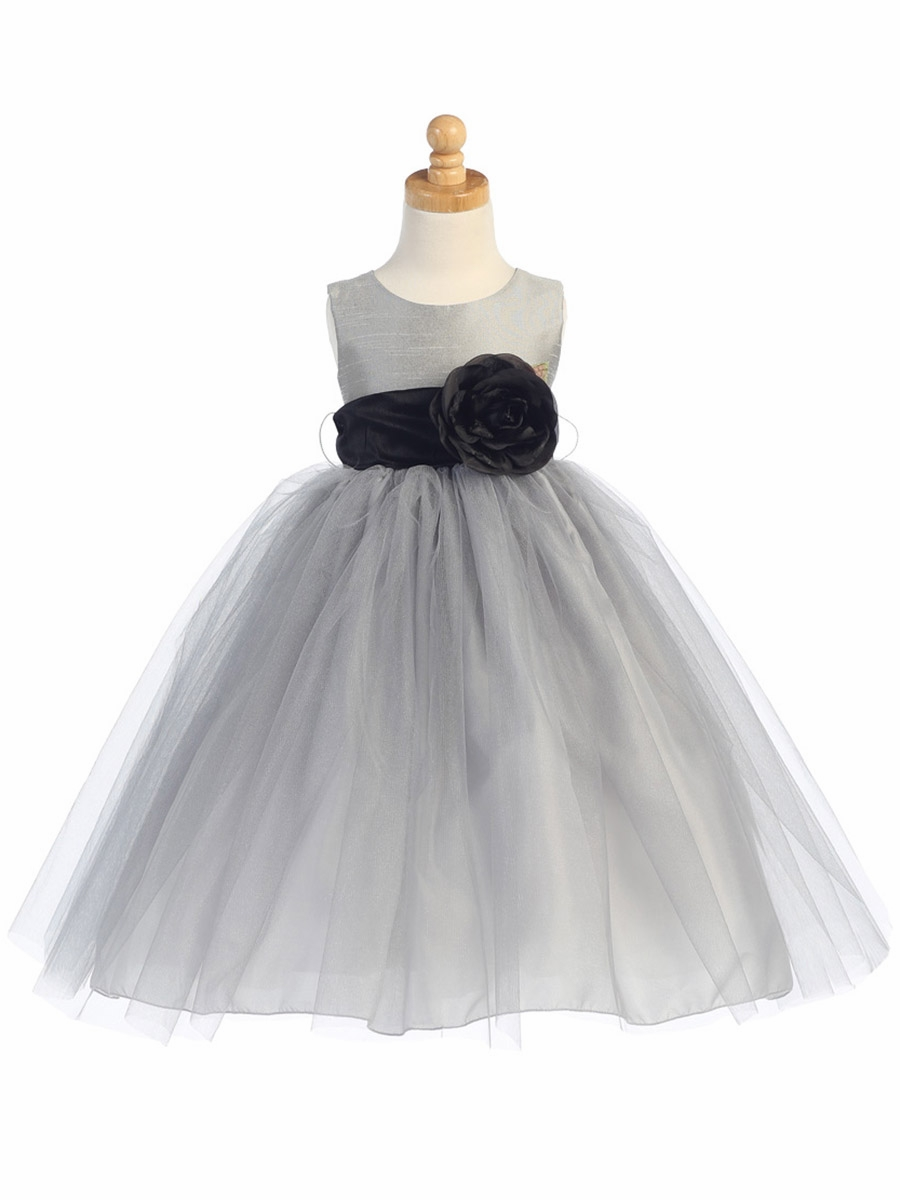 Blossom Silver Poly Silk Bodice Tulle Skirt Dress W Detachable