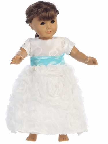 "Blossom Taffeta Bodice w/ Rose Patch Tulle Skirt & Removable Sash Dress for 18"" Doll"