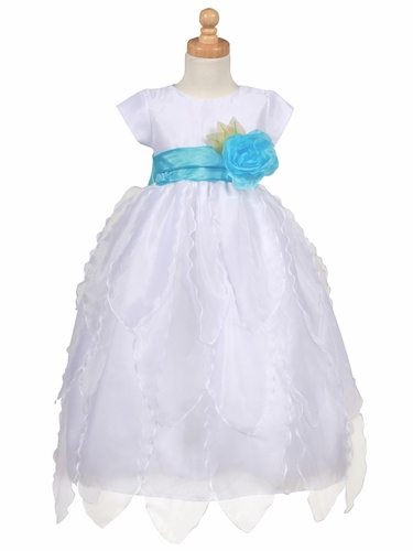 Blossom White Organza Dress w/ Petals Skirt
