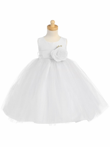 Blossom White Poly Silk Bodice & Tulle Skirt Communion Dress