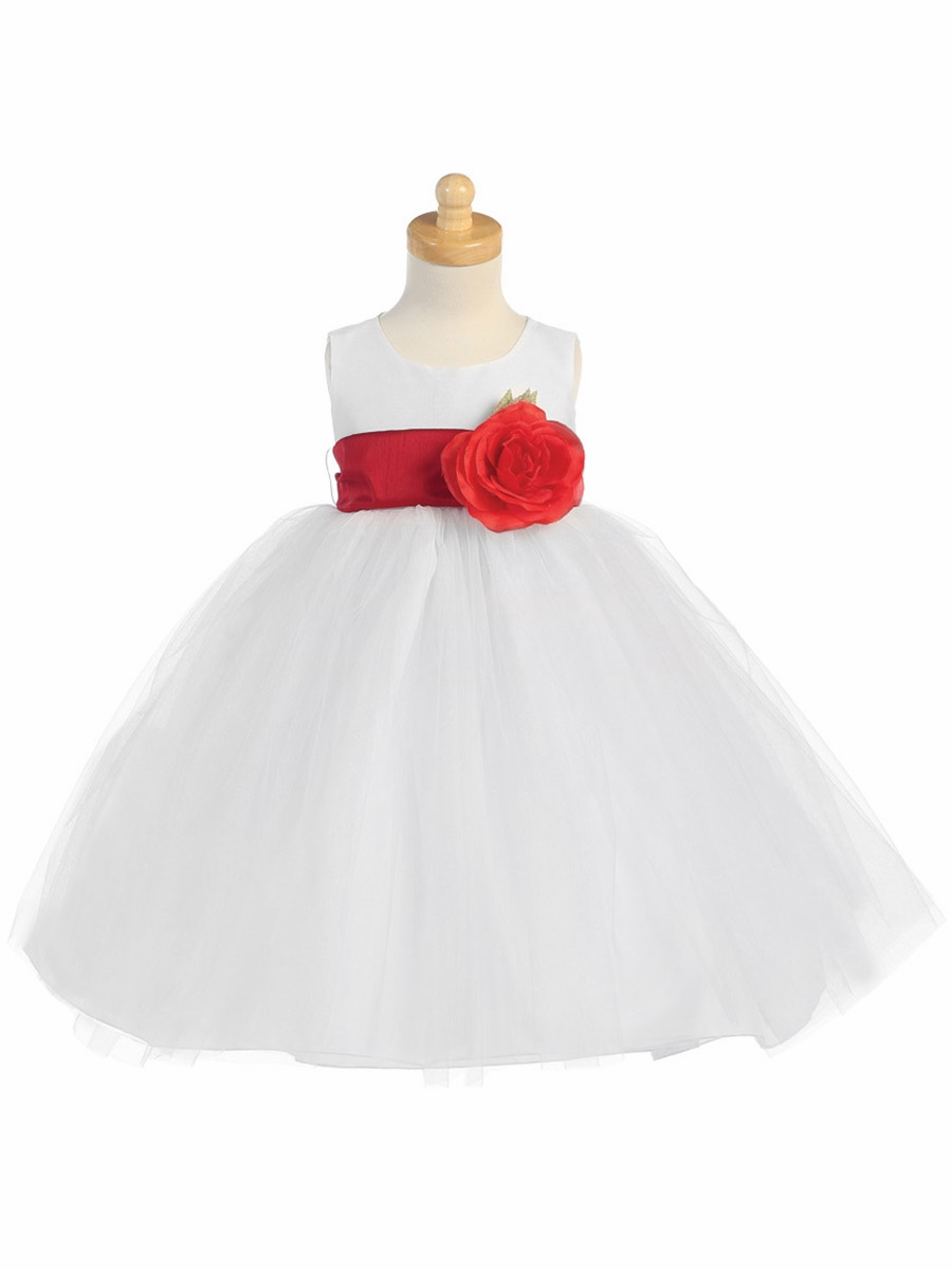 Blossom White Poly Silk Bodice Tulle Skirt Dress W Detachable