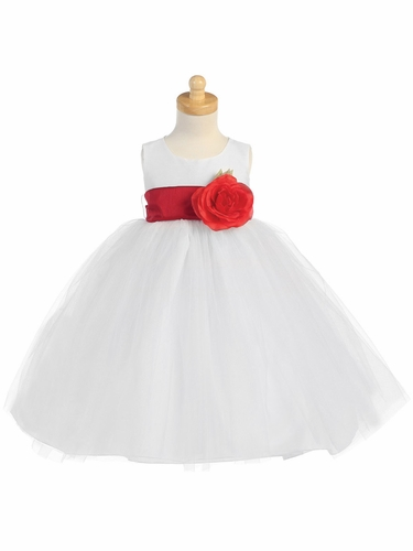 Blossom White Poly Silk Bodice & Tulle Skirt Dress w/ Detachable Flower & Sash
