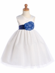 Blossom White Satin Bodice &Tulle Skirt w/ Detachable Sash & Flower