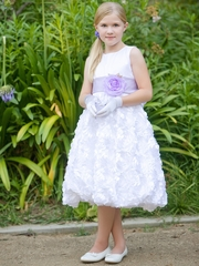 Blossom White Satin Bodice w/ Floral Ribboned Skirt & Detachable Sash & Flower