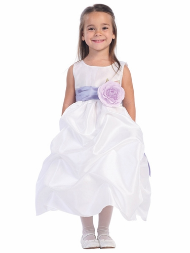 Blossom White Sleeveless Gathered Taffeta Dress w/ Detachable Sash