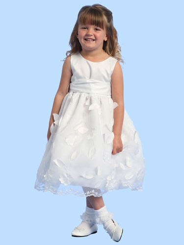 Blossom White Sleeveless Satin Bodice w/ Pop Up Satin Flowers