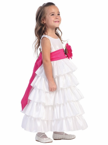 Blossom White Sleeveless Taffeta Bodice Layered Skirt w/ Detachable Sash & Flower