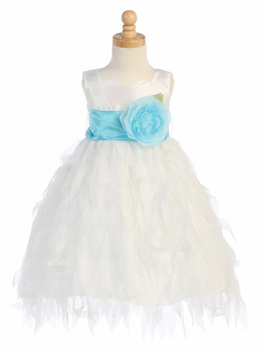 Blossom White Taffeta Bodice Dress w/ Chiffon Leaves Skirt & Detachable Sash & Flower