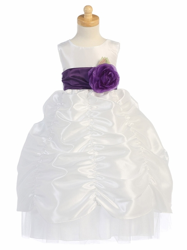 Blossom White Taffeta Dress w/ Shirred Skirt and Detachable Sash & Flower