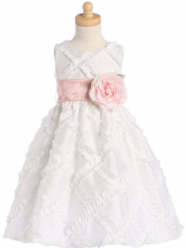 Blossom White Sleeveless Taffeta Ribbon Dress w/ Detachable Sash & Flower
