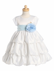 Blossom White Three Layer Satin Bubble Dress w/ Detachable Sash & Flower
