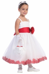 Blossom White Tulle Dress w/ Detachable Sash, Flower, & Petals