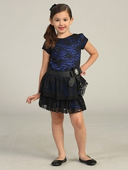 CLEARANCE - Blue/Black Holiday Drop Waist Lace Dress