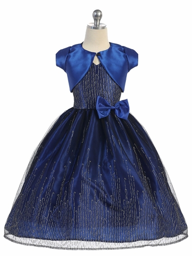 Blue & Black Polyester Glitter Mesh Dress w/ Bolero