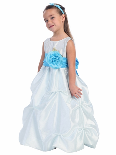 Blue Blossom Sleeveless Shantung Organza Dress w/Detachable Sash & Flower