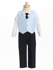 Blue Boys Poly Silk Vest & Black Pant Set