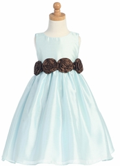 Blue/Brown Shantung Organza Dress with Detachable Flowered Sash