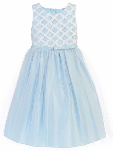 Blue Cross Hatch Satin w/ Tulle Dress