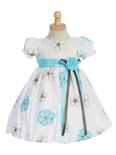 Blue Embroidered Cotton Baby Dress w/Taffeta Waistband & Flower