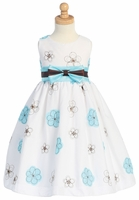 Blue Embroidered Cotton Dress w/Taffeta Waistband & Bow