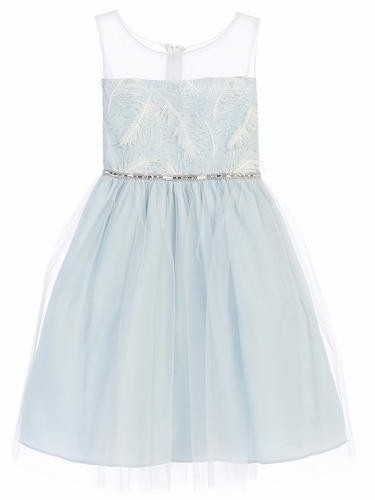 Blue Feather Patch Top & Mesh Skirt Dress
