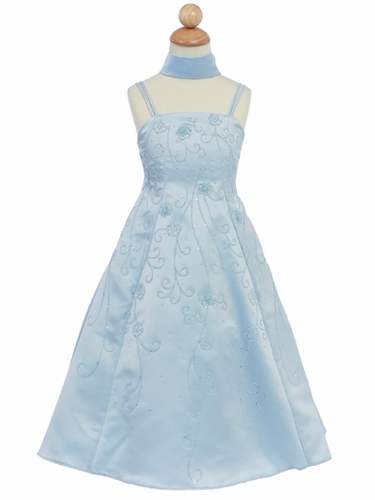 Blue Flower Girl Dress - Matte Satin A-Line