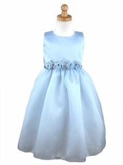 Blue Flower Girl Dress - Matte Satin Organza Dress