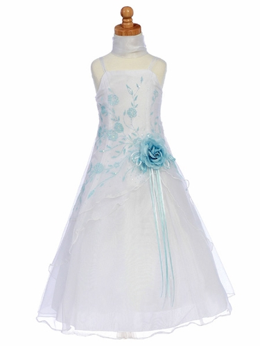 Blue Flower Girl Dress - Organza A-Line Dress Shawl
