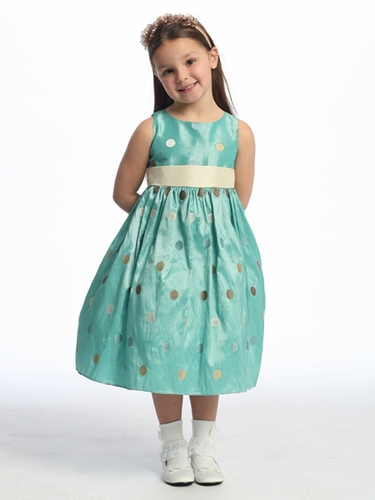 Blue Flower Girl Dress - Polka-Dot Embroidered Taffeta