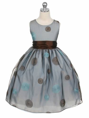 CLEARANCE - Blue Flower Girl Dress - Polka Dot Embroidered Organza Dress