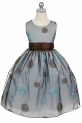 Blue Flower Girl Dress - Polka Dot Embroidered Organza Dress