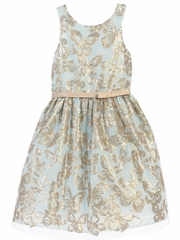Blue Gold Sequin Butterfly Dress