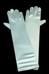 Blue Long Satin Gloves