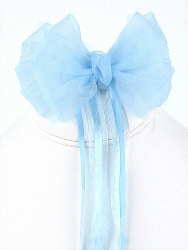 Blue Organza Hair Clip w/ Ribbon