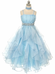 Blue Organza Special Occasion Dress