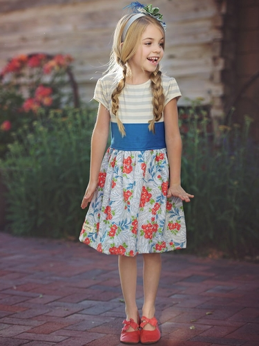 CLEARANCE - Persnickety Blue A Bushel & A Peck Emma Dress