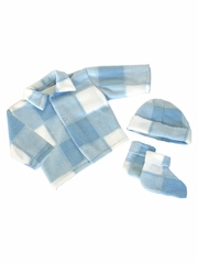 Blue Plaid Poly Fleece Bootie Set