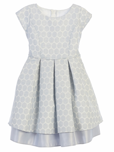 Blue Polka Dot Pleated Jacquard Dress