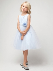 Blue Poly Dupioni Dress w/ Tulle Skirt & Adorned Waistline