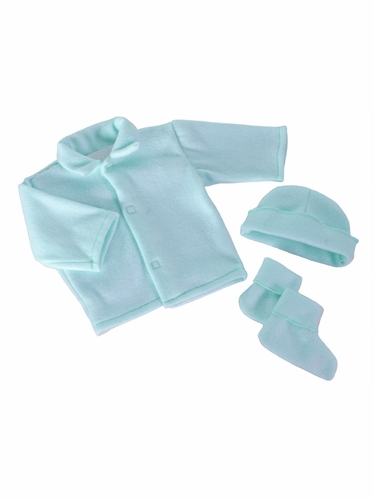 Blue Poly Fleece Bootie Set