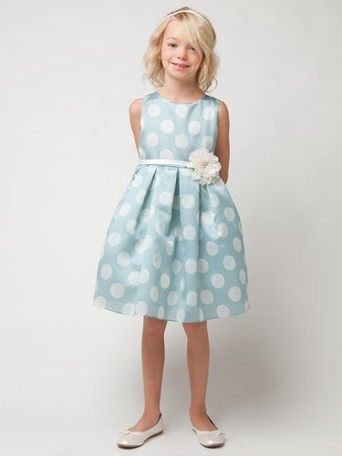 Blue Poly Silk Polka Dot Dress