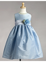 Blue Polyester Dupioni Dress w/ White Organza Sash